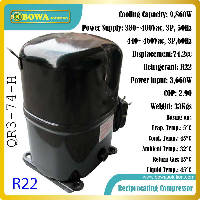 4P cooling capacity 1phase, R22 reciprocating compressors suitable for water cooled or air cooled ice maker machines 15hp water cooled condenser for ice maker machines