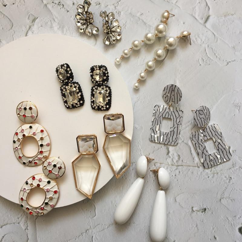 Ztech 32 Style Za  Resins Flower/Crystal/Beads Drop Earrings Women Long Big Statement Wholesale Factory Jewelry Ear Accessories