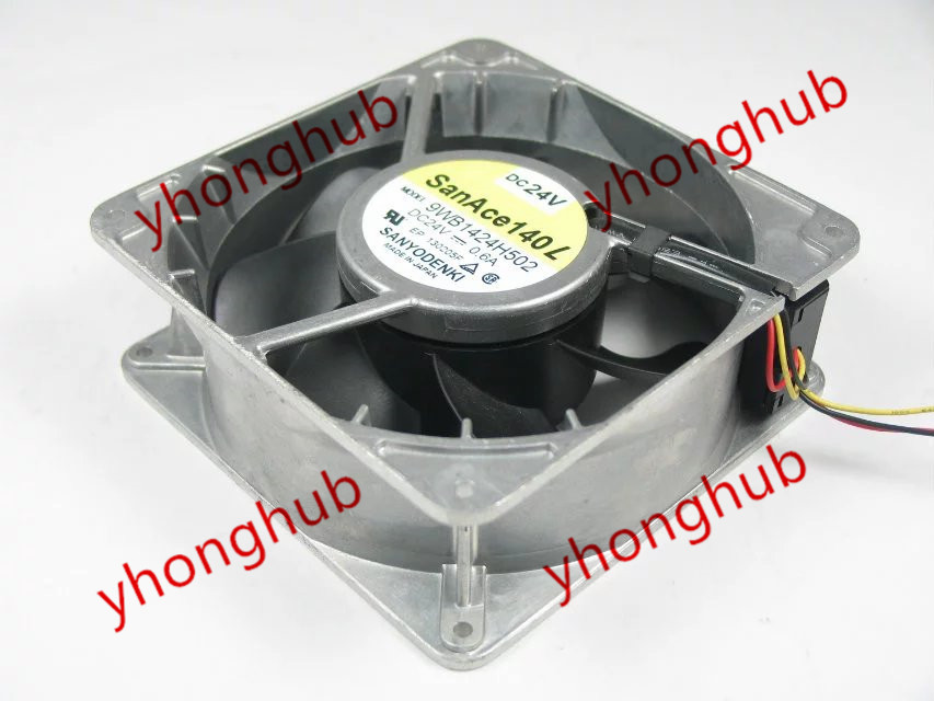 Sanyo 9WB1424H502 Server Square Fan DC 24V 0.60A 140x140x51mm 3-wire free shipping for panaflo fba06t24h dc 24v 0 11a 3 wire 3 pin connector 60mm 60x60x15mm server square cooling fan