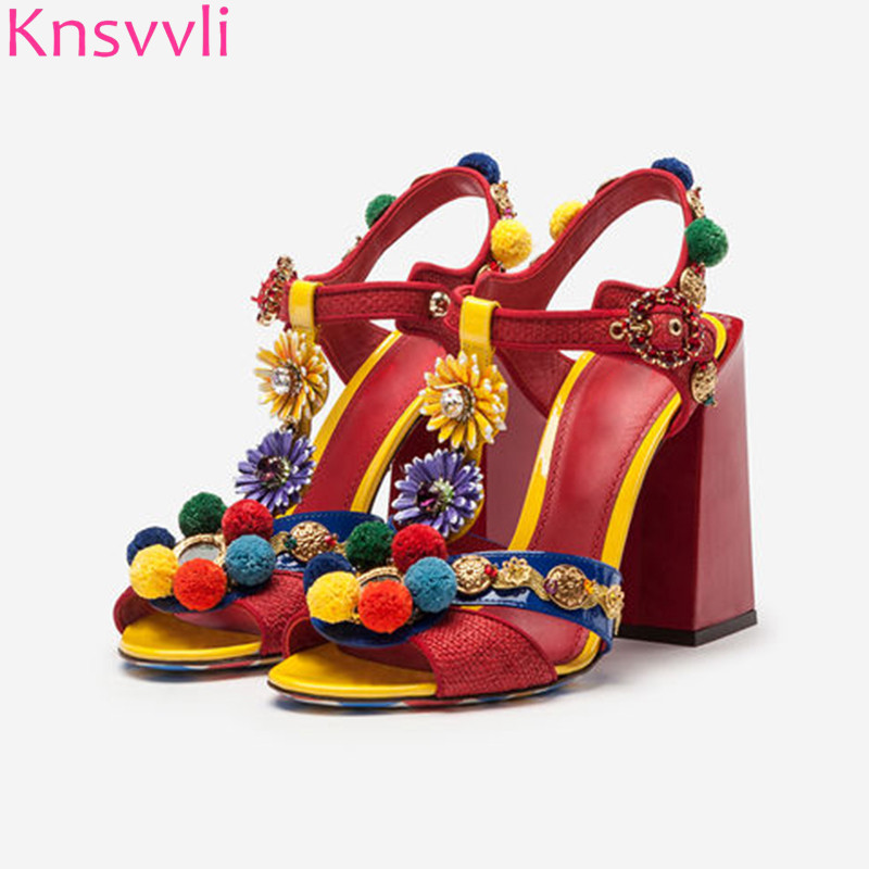 Knsvvli New Mixed Color Hairball Chunky High Heels Gladiator Sandals Women Rhinestone Sunflower Decor Retro Red Women PumpsKnsvvli New Mixed Color Hairball Chunky High Heels Gladiator Sandals Women Rhinestone Sunflower Decor Retro Red Women Pumps