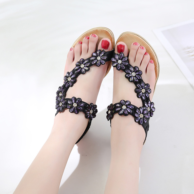 7deb2d2a5 ZHENBAILI Women Wedding Bridal Bridesmaid Shoes Flip Flop Ring Toe Bohemian  Sandals Floral Rhinestone Crystal Shoes Flats-in Low Heels from Shoes on ...