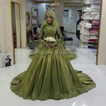 Middle East Ball Gown Wedding Dress with HiJab Wedding Dresses Appliques vestido de noiva Custom Made robe de mariage Cheap