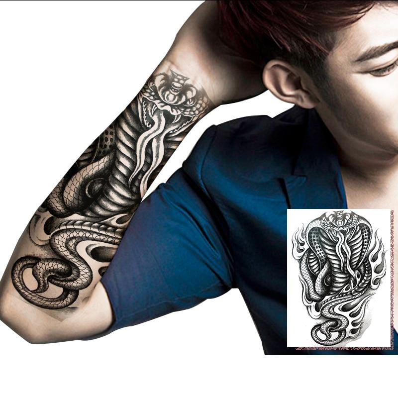 Us 273 30 Offmanzilin 5 Sztukzestaw Tymczasowy Tatuaż Wąż Kobrachiński Smok Wzory Wodoodporna Flash Tatuaże Naklejki Dla Mężczyzn Arm T311 315 W