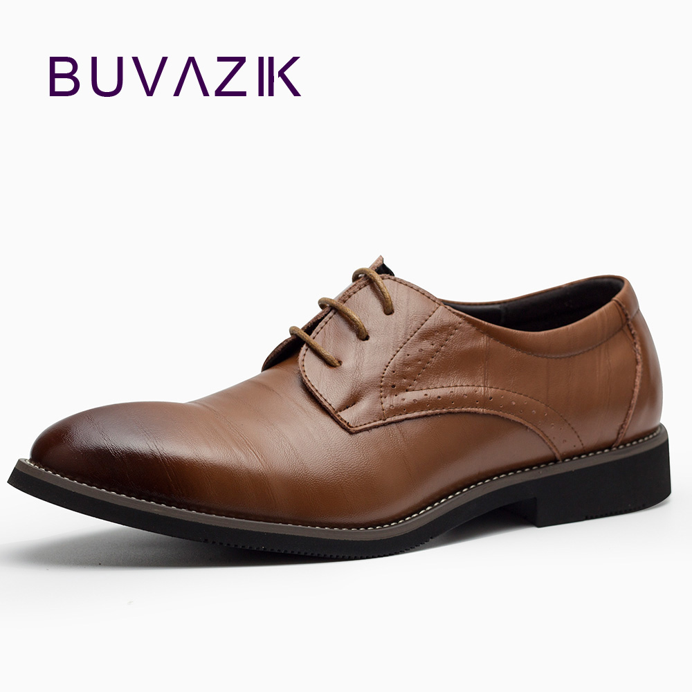 2018 Italian Designer Genuine Leather Derby Shoes Lace Up Men Formal Dress Shoes Oxfords Party Office