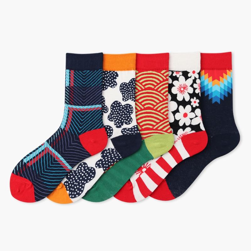 New Silky Happy Socks British Wind Geometric Hit Color Personality Funny Women Men Unisex Socks Cotton Short Cozy Socks Female