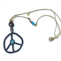 2017 Bohemian Style Peace Anti War Sign Tassel Pendant Necklace Beaded Necklace Jewelry