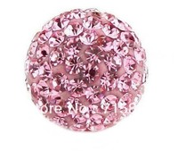100pcs CZ Crystal 12MM shamballa beads For Pave Disco Balls Pink Color shamballa For bracelet Fashin Jewelry Free Shipping