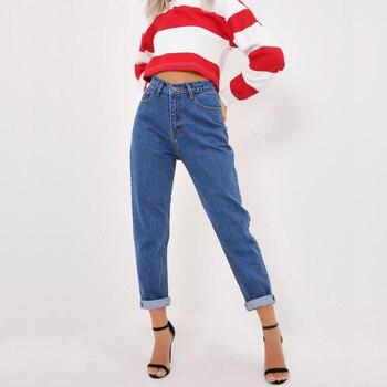 c471652b90 Pantalon jeans femme 2018 Vintage novio Fit alta cintura mujer Jeans  elástico lavado oscuro básica mamá Jean suelta trouses