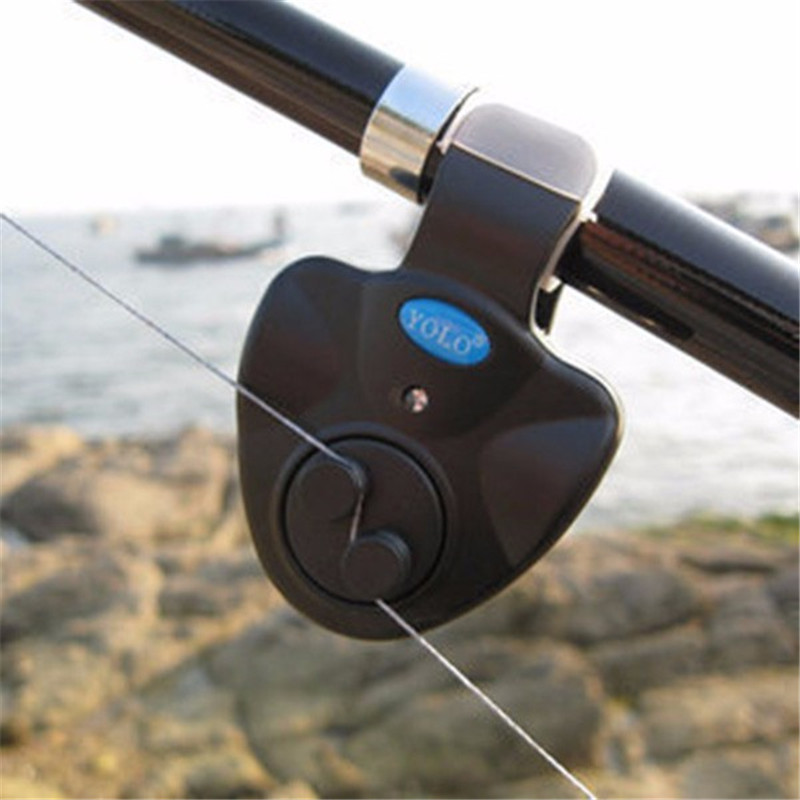 Electronic LED Light Fish Bite Sound-light Alarm Bell Clip On Fishing Rod Black