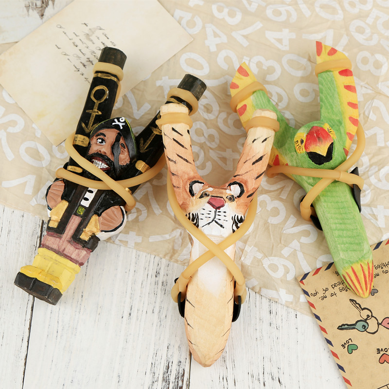Creative Slingshot Animal Styling Handmade DIY Making Creative Wood Carving Animal Slingshot Hand Painted Slingshot