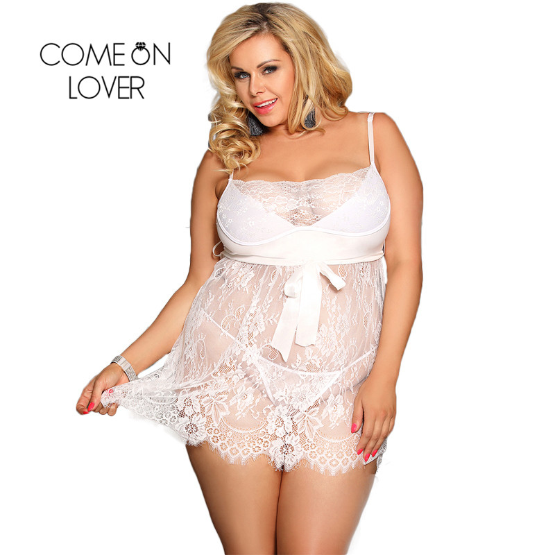 Comeonlover Sexy Dessous Eyelash Trim Lace Lingerie Plus Size Sexy Nightwear Lenceria Sexy Hot Erotik Lingerie Nightgown RI80456