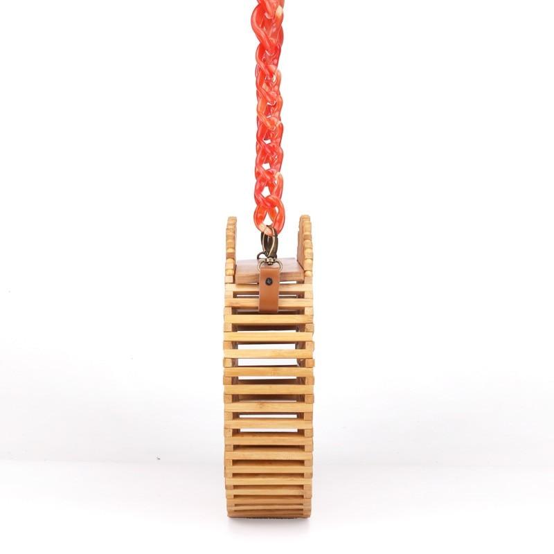 Plage Acrylique Sac Épaule Cercle Causalité Filles Tissé Sangle Et Bambou Dames Femelle Creux D'été Nouveau Sacs Petit Cycle Pour Rouge 2019 qFgPTP
