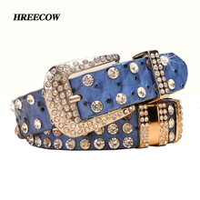 New Fashion Rhinestone belts for women Luxury Designer PU leather belt High quality Cow second layer skin strap female