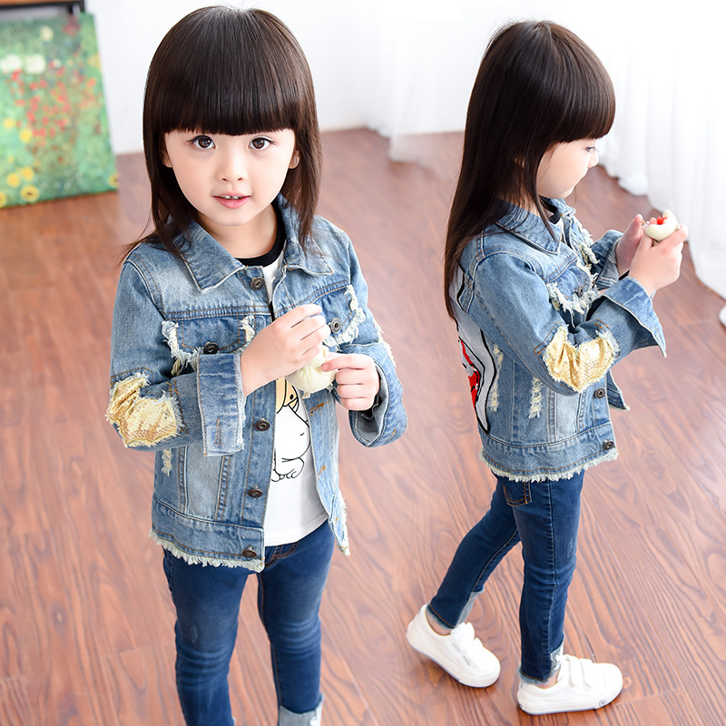 Girl outerwear babygirl clothes fashion baby girl denim clothing child jean jacket autumn spring children child jeans wear YL189 sokotoo men s colored painted snake 3d print jeans fashion black slim stretch denim pants