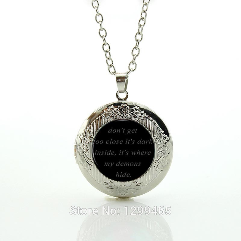 IMAINE DRAONS Black Dome Necklace - Song Lyrs Quote Pendant Mus Jewelry- Demons Link Chain lass Cabochon Necklaces N553