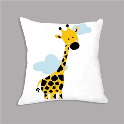 HTB1Fzp0ajzuK1RjSspeq6ziHVXap Cartoon Giraffe Lion Elephant Animal Printed White Plush Seat Cushion Throw Pillow 45x45cm Decorative Cushion Sofa Kids Room