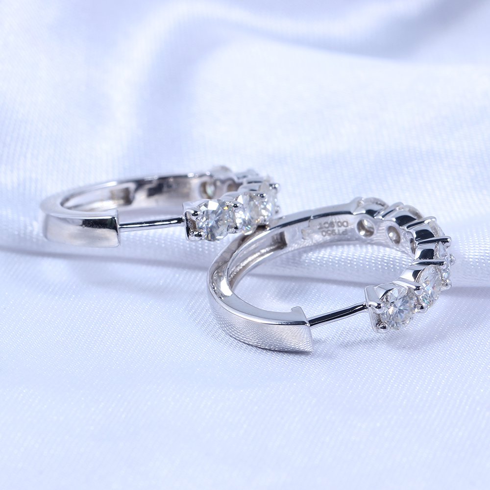 TransGems Platinum Plated Sterling Silver 1 8ctw 3 5mm H Color Moissanite Simulated Diamond hoop Earrings for Women Fine Jewelry in Earrings from Jewelry Accessories