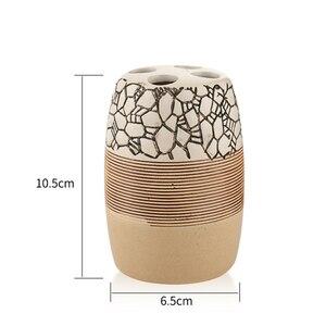 Image 4 - Conjunto de 4 piezas de accesorios de cerámica para baño de 100%, set de regalo para el baño, soporte para cepillo de dientes, vaso para jabón, incluye dispensador de jabón