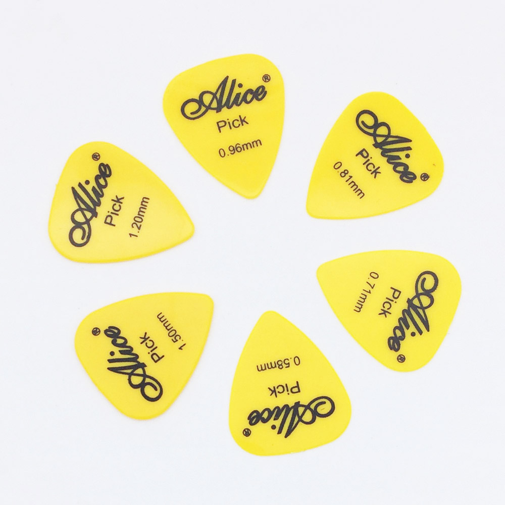 6 pieces Alice Guitar Picks in 1 Color Full Thickness 0.58 0.71 0.81 0.96 1.2 1.5 mm Black/White/Yellow/Red/Green/Blue/Orange 1