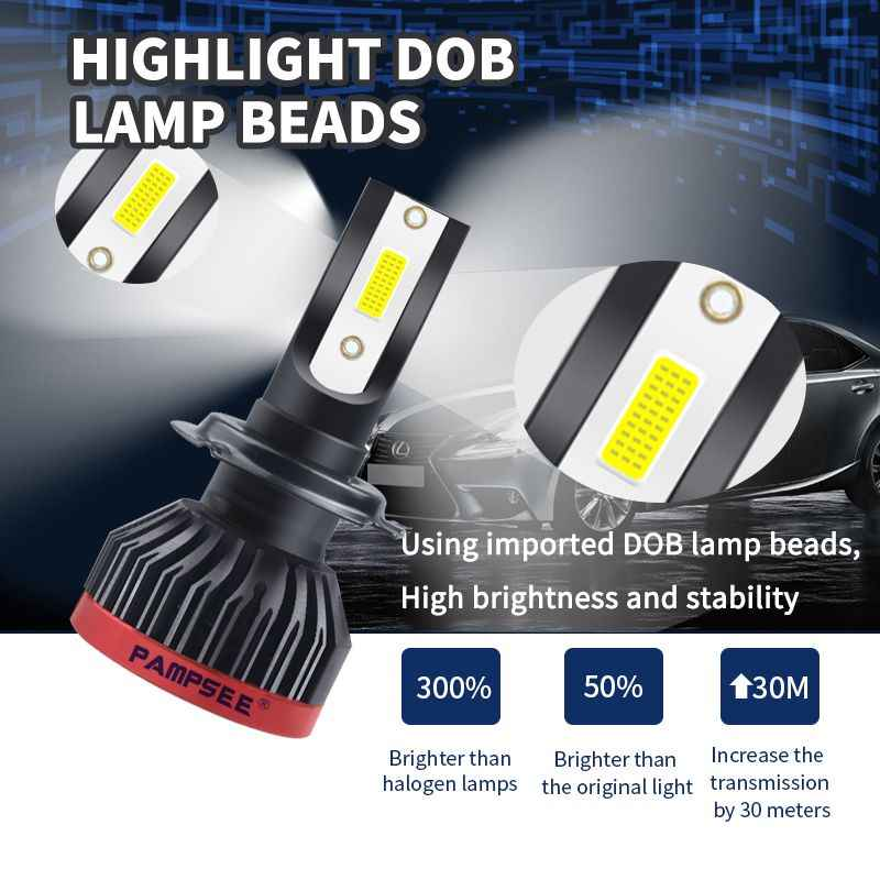 PAMPSEE 12000LM H11 H1 H4 H7 LED Canbus No Error Car Headlight Bulbs 80W 6000K 4300K 8000K 9005 9006 H8 Auto Fog Lights 12V