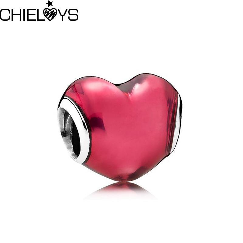 CHIELOYS 2pcs/lot Heart CZ Beads Fit Pandora Charms Silver 925 Original Bracelet Beads & Jewelry Making BE040