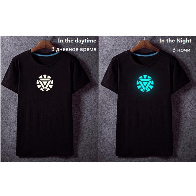 Fairy Tail Anime Luminous Glow in Dark Logo Cotton Casual Fashion Men's T-shirt