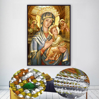 DIY Religious Icon Round Diamond Embroidery Painting Mosaic Diamond Cross Stich Wall Art Special Shaped Diamond Painting Craft