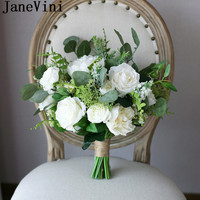 JaneVini 2018 White Bridal Bouquet Artificial Roses Bride Flowers Bridesmaid Wedding Bouquet Handmade Bouquet De Fleurs Blanche
