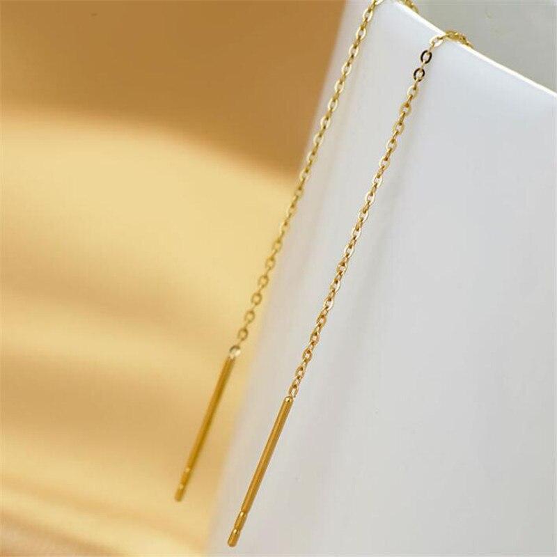 OL Style 5 6mm Long Line Chain Drop Dangle Earrings 18K Gold Fashion Brand Jewelry Strike Ear Cuff For Women in Earrings from Jewelry Accessories