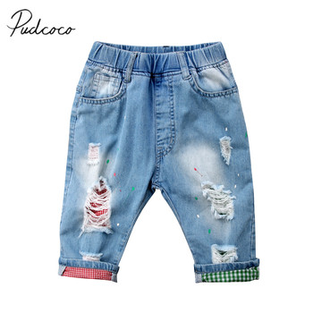 2018 Brand New Toddler Infant Kids Baby Boy Ripped Skinny Short Jeans Destroyed Frayed Designed Denim Pants Checked Capris 2-7T see through angel shirt