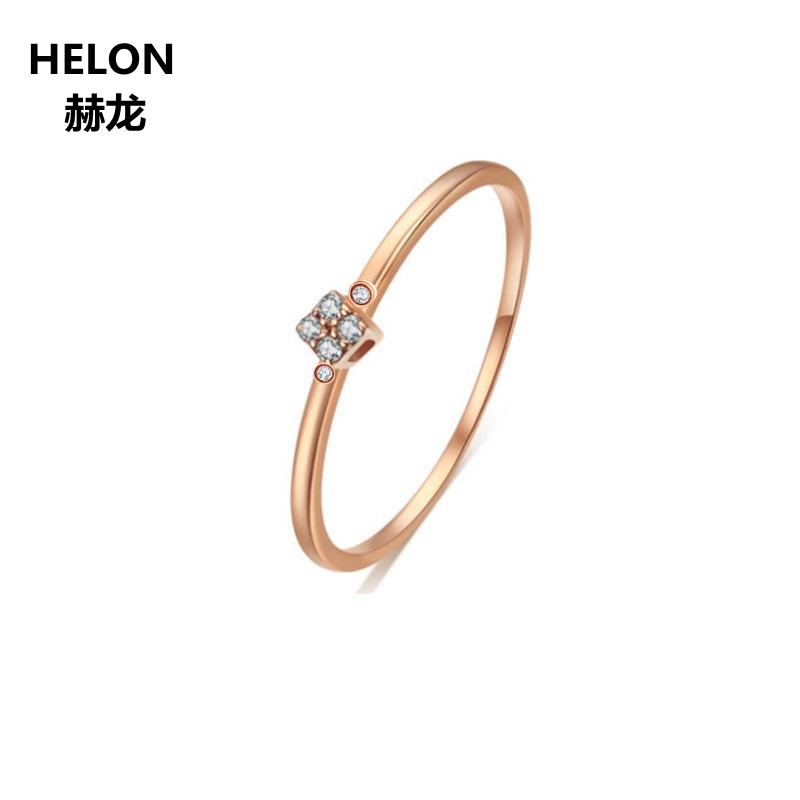 Solid 14k Rose Gold Natural Diamonds Engagement Ring Women Wedding Band Office Career StyleSolid 14k Rose Gold Natural Diamonds Engagement Ring Women Wedding Band Office Career Style