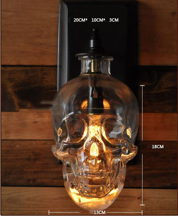 Skull wall lamps Retro Industrial style Creative Bar Wall Sconce Modern Wall Lamps Skull Glass Skull Bottle Light Fixture lamps цена