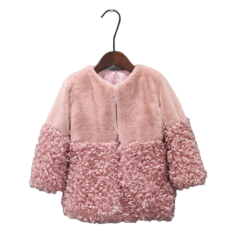 2018 Autumn Winter Girls Faux Fur Coat Warm Children's Fur Jacket For Girls Parkas Girl Fur Coat Kids Outerwear Snowsuit Pink стоимость