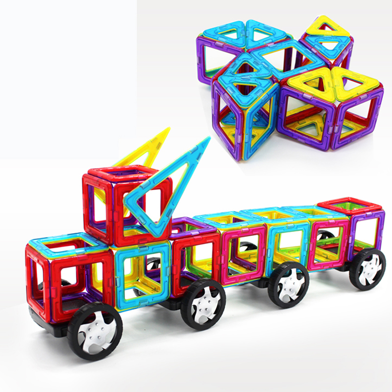 ФОТО 64Pcs/Set Magnetic Designer Building Blocks Models & Building Toy Plastic DIY Bricks Children Learning & Educational Toys TY0044
