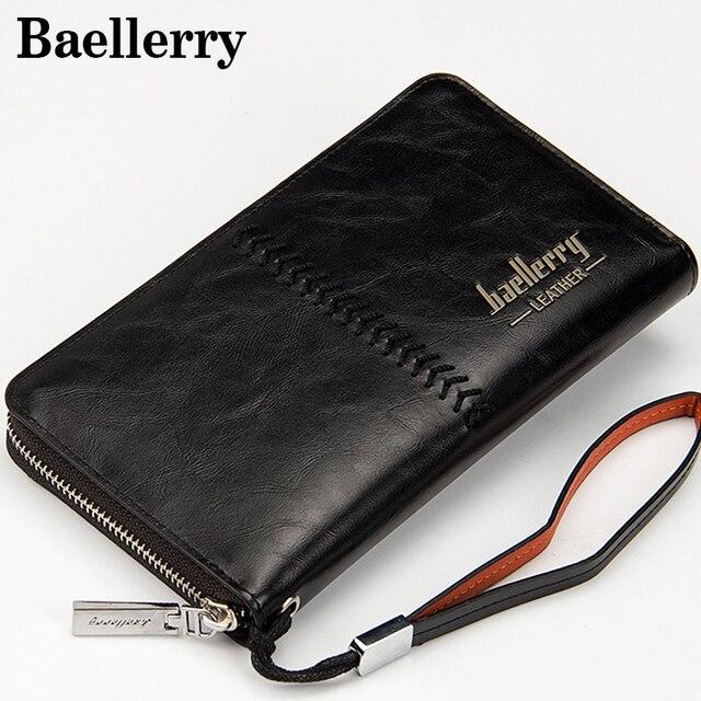 Элитный бренд Для мужчин кошельки кошелек кожаный мешок денег Для мужчин сцепления кошелек мужской ремешок Baellerry бумажник carteira masculina MWS020