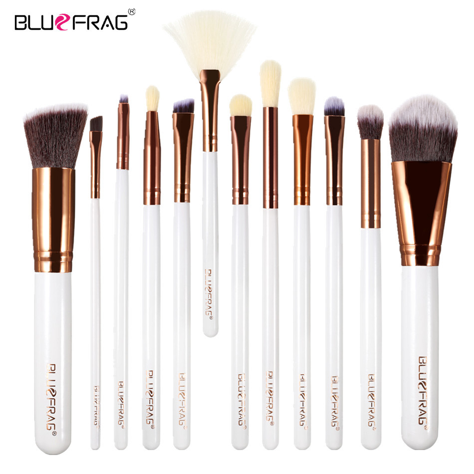 Makeup Brushes Professional Eye Shadow Brush BLUEFRAG White Wooden Brush handle Foundation Contouring Brush 12pcs BLBR0278