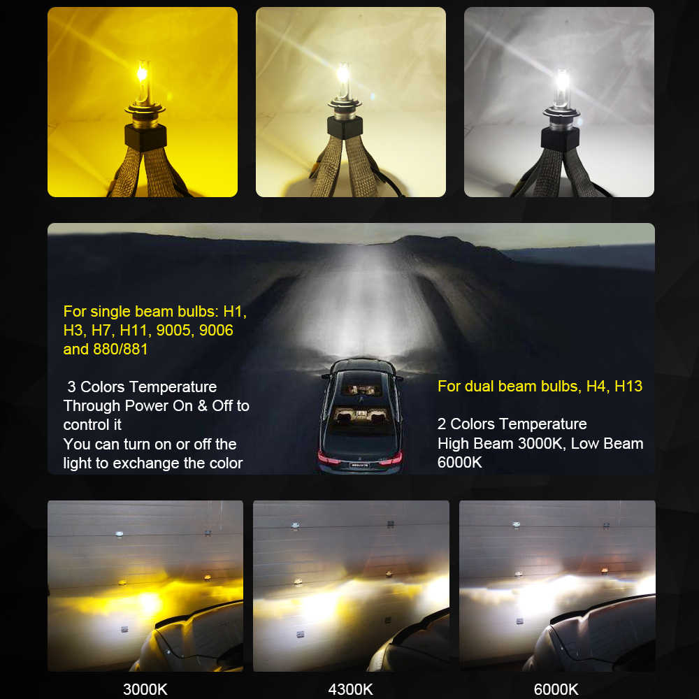 Roadsun רכב פנס הנורה LED H7 H4 H1 H3 H11 H13 880 9005 9006 HB3 HB4 Led זרקור 3000 K 4300 K 6000 K 60 W 12 V אוטומטי Led אור