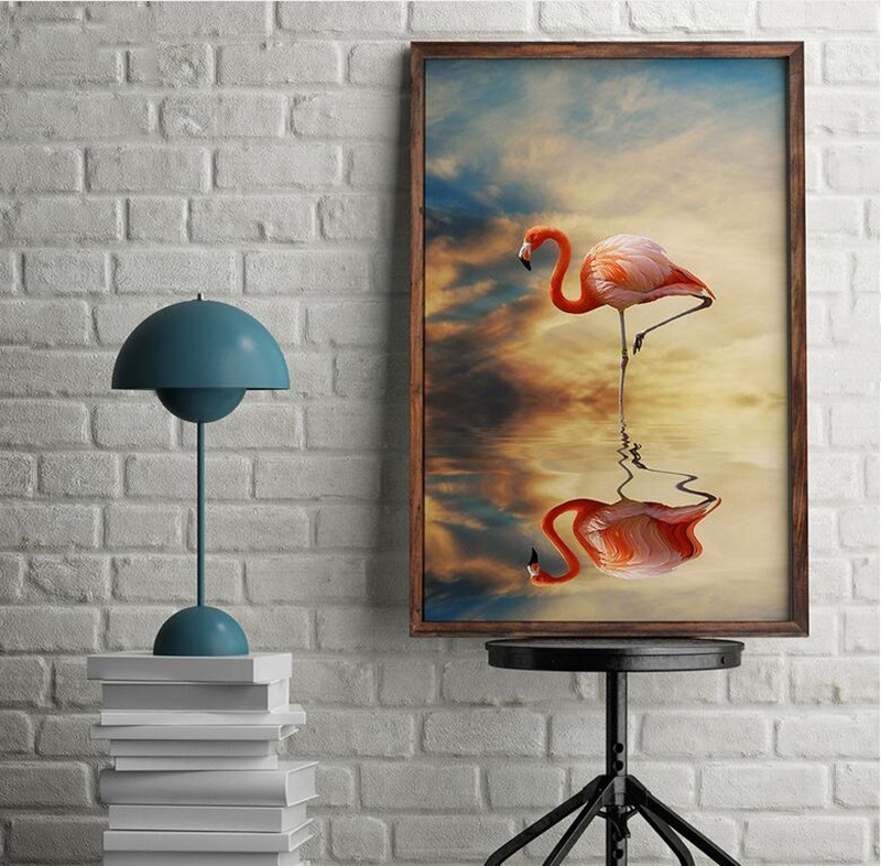 Nordic Style Flamingo Shadow Zen Themed Animals Poster Home Decoration Painting Wall Art Canvas Picture for Living Room No Frame in Painting Calligraphy from Home Garden