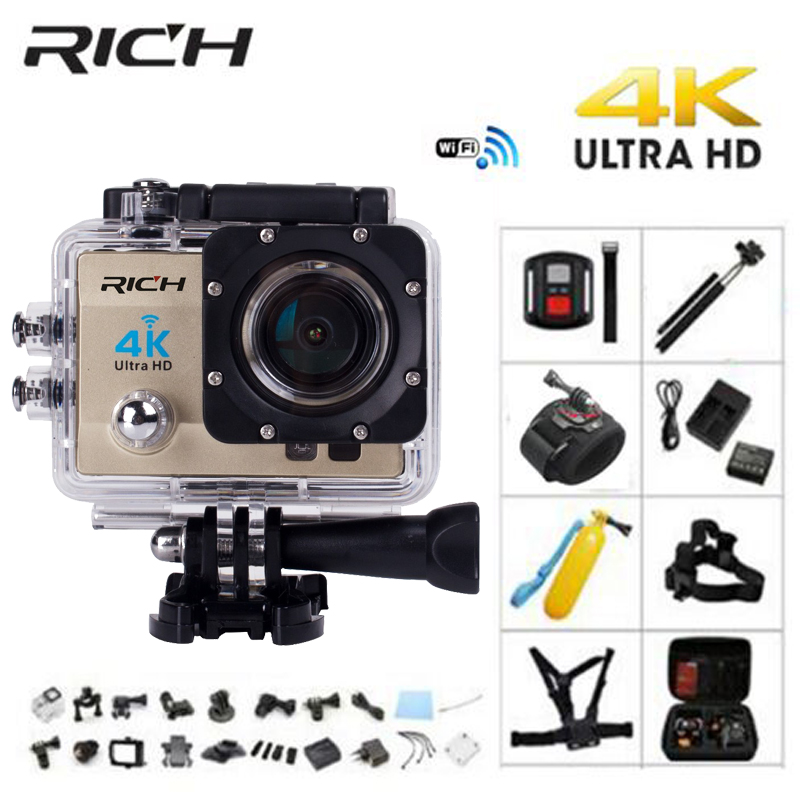 RICH Q5H pro Action camera Ultra HD 4 K WiFi Full 1080 P 60fps Diving underwater go waterproof Helmet Cam Sports action Cameras wimius 20m wifi action camera 4k sport helmet cam full hd 1080p 60fps go waterproof 30m pro gyro stabilization av out fpv camera