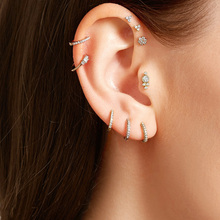 Fashion Elegant minimal Gold cz Crystal Full Stud Earrings for Woman Girl Statement 925 silver Perforated Earring Jewelry Gift women girl s 925 silver statement crystal cz fan shaped stud earrings for dress wedding party jewelry retro fashion gift