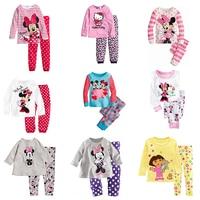 2016 Spring Fall New Minnie Cartoon Mouse Baby Toddlers Kids Girls Nightwear Pajamas Set Sleepwear Homewear