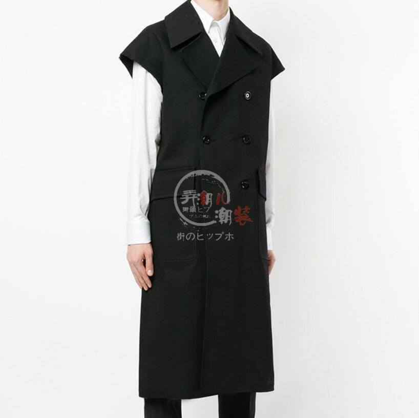 New Men Youth Long Trench Coat Style Vest Men British tide Sleeveless Casual Suit Vest Loose Outwear Siger Costumes S 5XL
