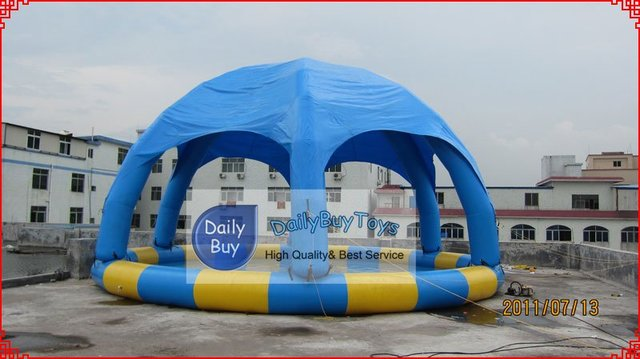 WP07  Dia 8m 26.5ft  Inflatable water pool with dome tent, fit for 8-15pcs water ball    Repair kits & CE/UL pump for free