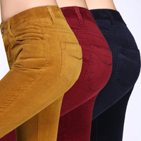 2018 autumn and winter corduroy pants high waist stretch pencil pants cashmere casual pants was thin feet trousers