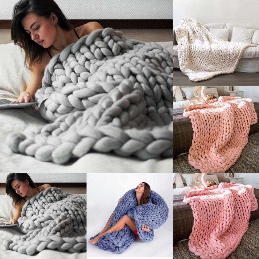 100*120cm Portable Wearble Family Necessity Hand Chunky Knitted Blanket Thick Wool Bulky Knitting Throw *Drop shipping t1228100*120cm Portable Wearble Family Necessity Hand Chunky Knitted Blanket Thick Wool Bulky Knitting Throw *Drop shipping t1228