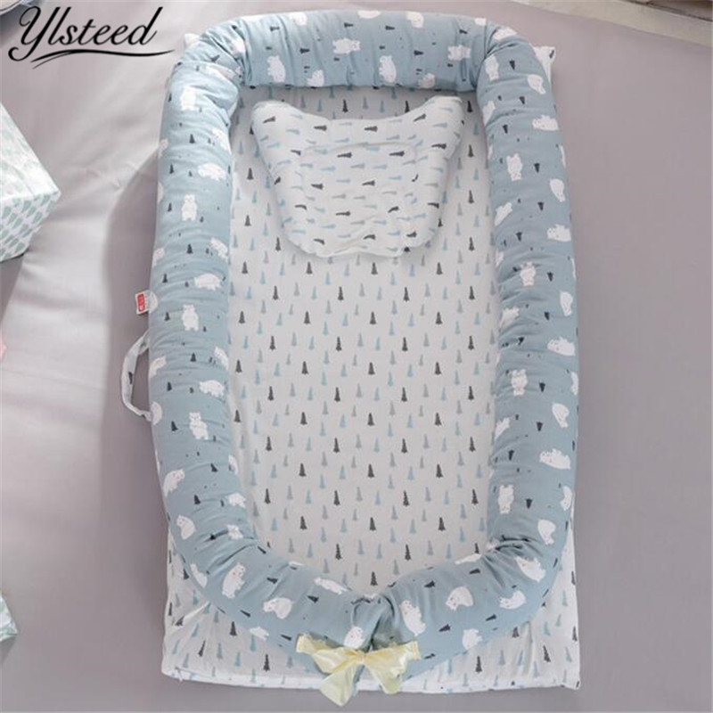 Baby Cotton Position Pillow Portable Bed Detachable Newborn Baby Crib Foldable Nursery Travel Bed  Multifunction Portable Bed