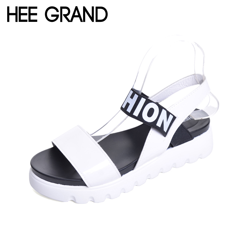 HEE GRAND Summer Gladiator Sandals 2017 New Beach Platform Shoes Woman Slip On Flats Creepers Casual Women Shoes XWZ3346 phyanic gold silver wedges sandals 2017 new platform casual shoes woman summer buckle creepers bling flats shoes phy4040