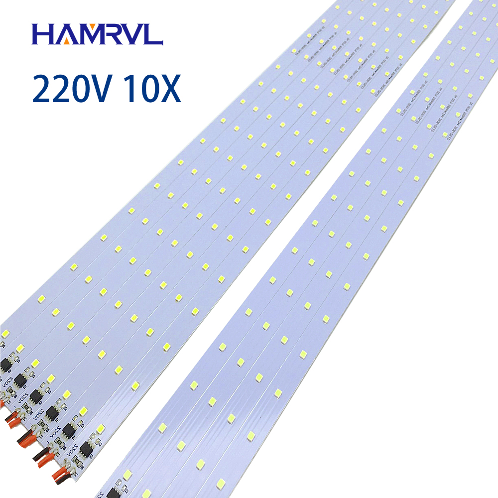 10pcs  Ac 220v LED Rigid Strip Driverless , 30/50/60cm  SMD 5730 2835 Led Bar Light No Need Power Under Counter Factory Use