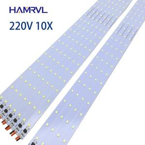 Image 1 - 10pcs  ac 220v LED rigid strip Driverless , 30/50/60cm  SMD 5730 2835 led bar light no need power under counter factory use