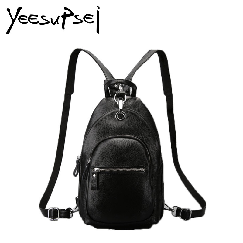 YeeSupSei Sweet Beauty Style Bag Real Leather Women Small Solid Color Zipper School Bag For Teenager Small Backpack Fashion Bag guapabien sweet beauty style bag pu leather women shell solid color zipper school bag for teenager small back pack shoulder bag